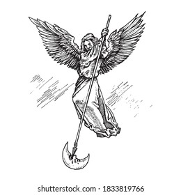 Black and white vintage etched art. Ink drawn ghotic religion plot of medieval good and evil battle. Clipart for sticker, tattoo, print. Angel flying on wings strikes eye of moon with spear and kills.