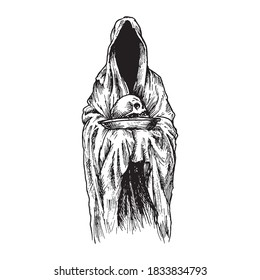 Black and white vintage etched art. Ink drawn ghotic plot of dethly hallows, halloween, nightmare or hell. Clipart for sticker, tattoo, print. Spooky ghost in mantle with hood holds skull on plate.