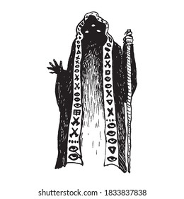Black and white vintage etched art. Ink drawn ghotic clipart for sticker, tattoo, print. Scary ghost in gown hood hold cane. Soul of ancient black magician, sorcerer or monk casts spell on Halloween.