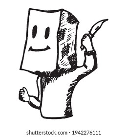 Black and white vintage etched art. Ink drawn ghotic clipart for sticker, tattoo, print. Psycho with paper bag on his head swings and attacks with knife in arm and creates threat to life and health.