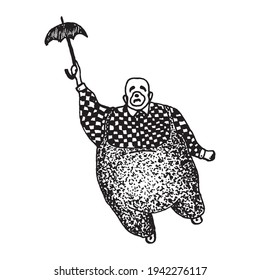 Black and white vintage etched art. Ink drawn ghotic clipart for sticker, tattoo, print. Sad fat clown in checkered shirt and pants with suspenders holds umbrella and flies up away during circus show.