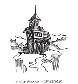 Black and white vintage etched art. Ink drawn ghotic clipart for sticker, tattoo, print. Old abandoned lonely ramshackle house with tiled roof, porch, tower and spire on rock cliff in bad weather.