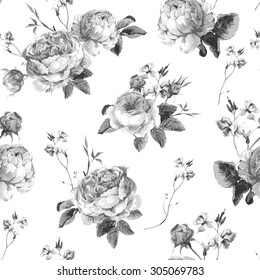 Black and White Vintage Floral Seamless Background with Blooming English Roses, Vector watercolor Illustration