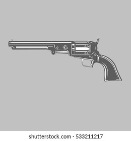 Black and white vintage revolver vector illustration. Stylized antique handgun
