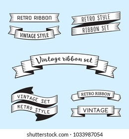 Black and white vintage ribbons in retro engraving style vector set. Part one.
