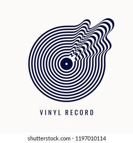 Black and white vinyl record. Vector illustration music on light background.