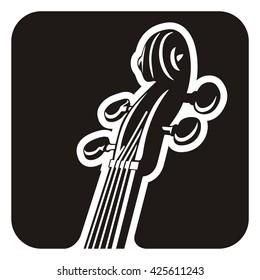 Black and white violin detail icon.