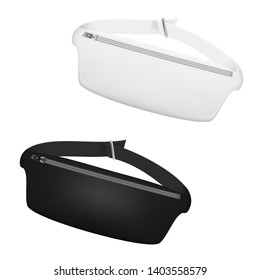 Black And White Waist Bag, Fanny Pack 80s-90s Style. EPS10 Vector