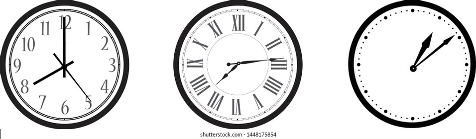 Black and white wall office clock icon set. Clock with arabic, roman numerals and dots