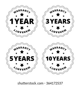 Black and white warranty stickers, labels, stamps, badges with star, cut out lines. Vector illustration.