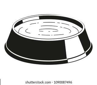 Black and white water bowl silhouette. Simple supply for domestic animal. Cat dog care themed vector illustration for icon, sticker, patch, label, sign, badge, certificate or gift card decoration