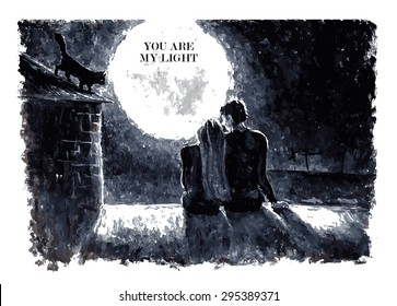 Black and white watercolor hand drawn vector illustration of loving couple sitting on roof, looking at moon under stars in night sky with text place. Good for memory card design or book illustration.
