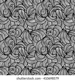 Black and white wave pattern, seamless background, vector illustration