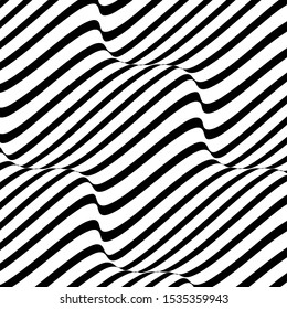 Black and white wave stripe optical abstract design. Curved line on white background, Vector background.
