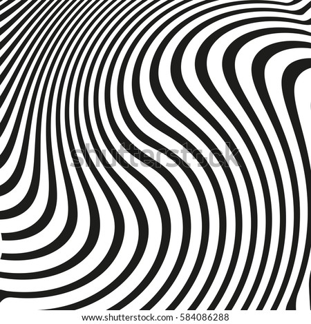Black White Wave Stripe Optical Abstract Stock Vector Royalty Free