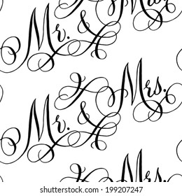 "Black and white wedding seamless pattern with hand-written traditional words ""Mr. and Mrs."""
