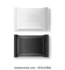 black & white wet wipes package realistic vector, isolate, 3D