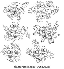 Black and white wild flowers. Vector Background, flower ornaments. Zentangle floral pattern.