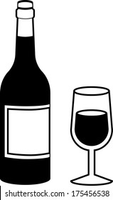 Black and White Wine Bottle with Full Wine Glass Isolated Vector