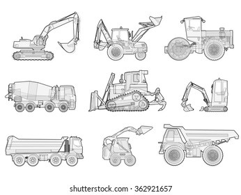 Black and white wire big set of ground works machines vehicles. Construction equipment for building. Truck, Digger, Crane, Forklift, Small Bagger, Mix, Roller, Extravator master vector illustration