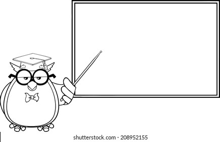 Black And White Wise Owl Teacher Cartoon Character In Front Of School Chalk Board. Vector Illustration Isolated on white