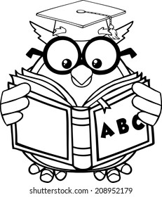 Black And White Wise Owl Teacher Cartoon Mascot Character Reading A ABC Book. Vector Illustration Isolated on white
