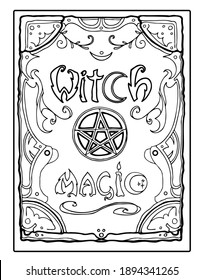 Black and white witch magic spell book for coloring page. Print for postcards, stationery, art therapy, paper.