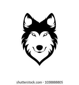 Black and White Wolves Head Simple Design