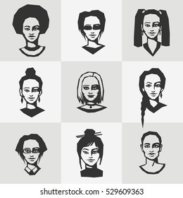 Black and white women's faces, different face features, ethnicity, nationality. Flat design vector clip-art.