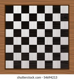 Black and white wooden chess board with grain background