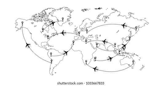 Black and white world map with aircrafts and their tracks isolated on white background. Vector illustration.
