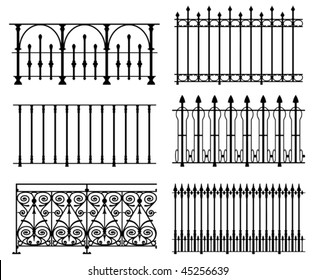 Black and white wrought iron modular railings and fences