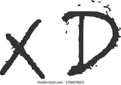 Black and white 'xD' emoji