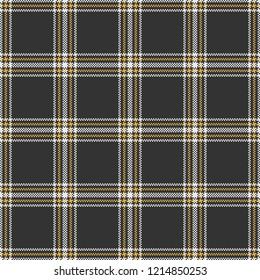 Black, White, & Yellow 5-Stripe Tartan Plaid--Seamless Pattern Vector Illustration