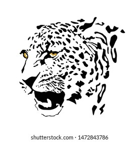 Black and white, and yellow color vector portrait of a wild leopard. Can be used as logo, fashion design, bookplate, tattoo design, emblem, badge, t-shirt print.