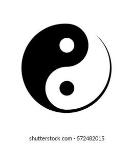 Black and white Yin Yang icon symbolising harmony, unity, balance, male and female, positive and negative in Chinese philosophy, vector illustration