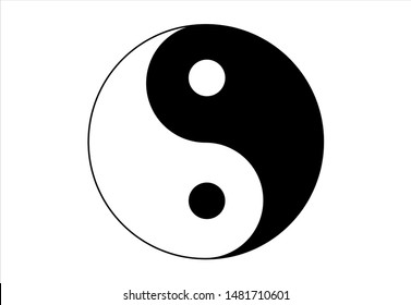 Black and white Yin and Yang simple icon on white background. Concept of dualism in ancient Chinese philosophy. The taichi symbol vector design. Ying yang symbol of harmony and balance.