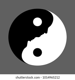 Black and white Yin Yang symbol with faces depicting the balance between opposite forces followed in Chinese philosophy, vector illustration