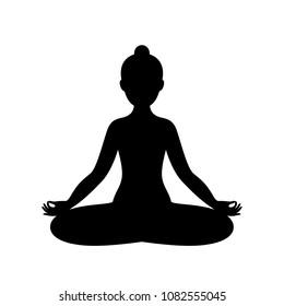 Black and white yoga icon. Vector.