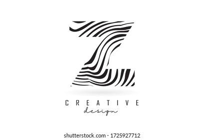 Black and White Zebra Z Letter Logo Design. Creative Z vector illustration with lines.