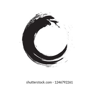 Black and White Zen Enso Symbol Original Vector Design. Painting Enso Zen Circle Chinese Style Illustration.Logo, Emblem Design. Brush Drawn Buddhist Sign Isolated on White. Fine Art Element.