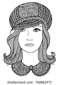 Black and white zentangle decorative girl portrait for decorating greeting cards, coloring books, art therapy, anti stress, print for t-shirt and textile.