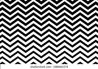 Black and white zigzag chevron pattern. Simple and modern vintage background. web design, greeting card, textile, Eps 10 vector illustration