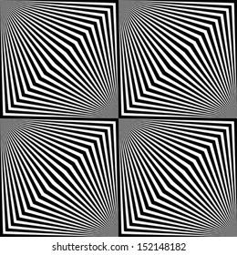 Black and white zigzag pattern. Optical illusion.