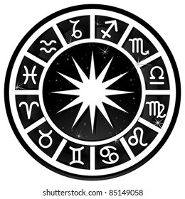 Black and white zodiacal circle with zodiac sign
