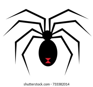 Black Widow graphic with spider and web for shirt, cap, banner, poster, greeting card, party invitation. Isolated illustration.
