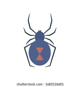 black widow spider icon over white background, flat style, vector illustration