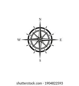 Black wind rose or compass. Vector illustration
