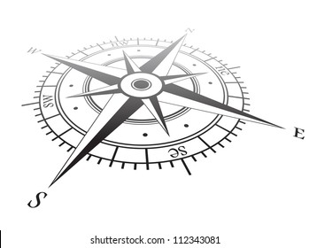 Black wind rose isolated on white