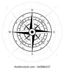 Black wind rose isolated on gray with compass arrow. eps10